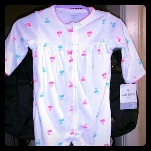 Footed onesie carters girls cherry pink and teal